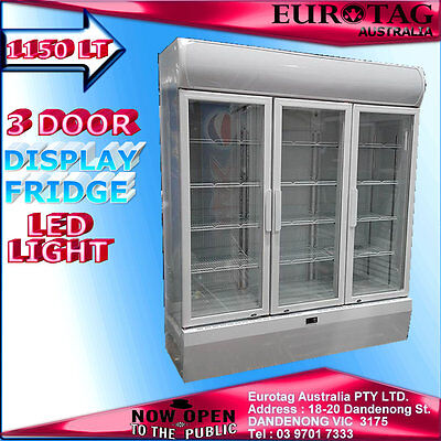 NEW EUROTAG 3 DOOR 1150L COMMERCIAL UPRIGHT DISPLAY FRIDGE {white} 1YEAR WAR.