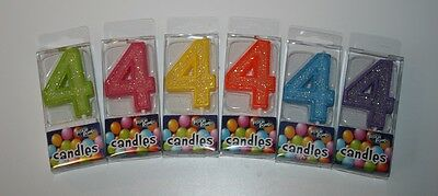Birthday Candles Number 4 Multi Colors Green Pink Yellow Orange Blue Purple