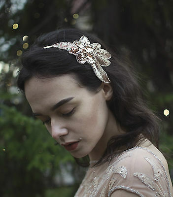 Rose Gold Nude Beaded Headband Fascinator Vintage 1920s Great Gatsby Flapper S63
