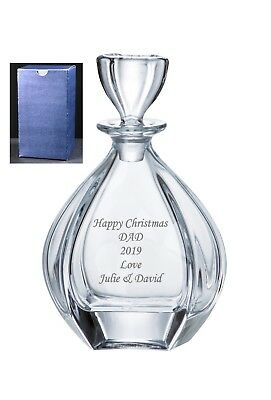Personalised Large Crystal Whisky Bohemia Glass Decanter, Engraved Gift