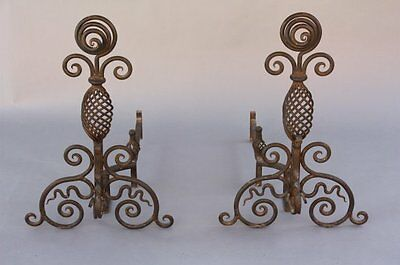 Pair 1920s Wrought Andirons Fits Spanish Revival Tuscan Mediterranean (7671)