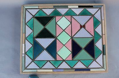 Salvaged Colorful Mosaic Ceramic Tile Table Top Art Fits Spanish Revival (7666)