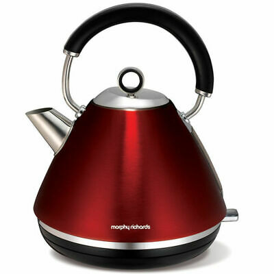 Metallic Red Morphy Richards 1.5L Accents Traditional Pyramid Cordless Kettle