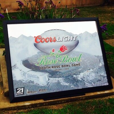 """Coors Light 100TH Rose Bowl Football Game NCAA Pac12 Beer Bar Mirror 52x40 """"NEW"""""""