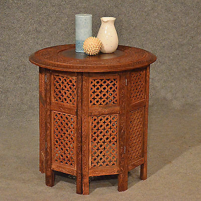 Antique Low Table Side Lamp Occasional Folding Carved Inlaid Indian Teak c20th