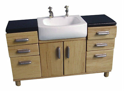 Dolls House Bathroom: Wooden Sink unit with 6 drawers & 2 doors   12th scale