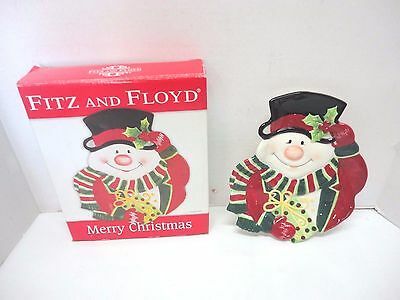 Fitz & Floyd Merry Christmas Snowman Collector, Canape, Cookie, Snack Plate 2006