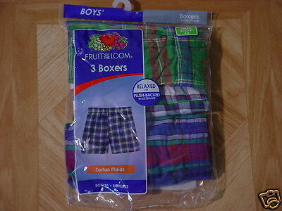 Fruit Of The Loom Boys 3 Pack Assorted Plush-Backed Waistband Boxer Shorts 6-8 S