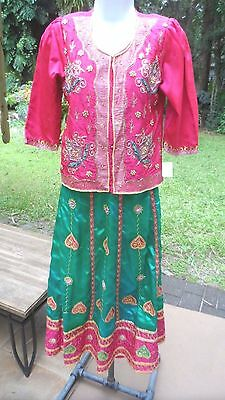 2 Pc Emerald Grn/FuschiaPink/Gold Indian Ensemble w/Mirrors, Pearl Accents XS-Sm