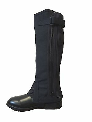 CHILDS RIDING HALF CHAPS/GAITERS AMARA SUEDE BLACK ALL SIZES ref trw