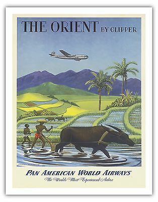 Orient Rice Paddy Pan Am Airplane Vintage Airline Travel Art Poster Print Giclee