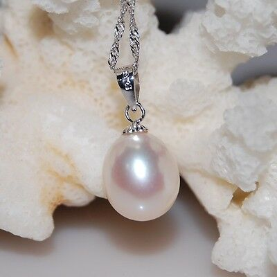 9-10mm White Drop Freshwater Pearl Pendant In Solid 925 Silver + Silver Necklace