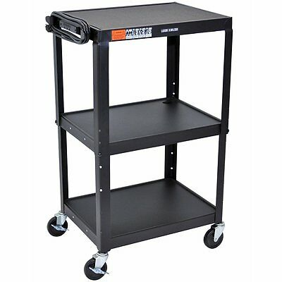 Luxor AVJ42 Steel Adjustable Height Multipurpose AV Cart with 3-shelves in Black