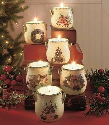 Set of 6 Holiday Tea Light Crocks Christmas Candle or LED Holders Decorations