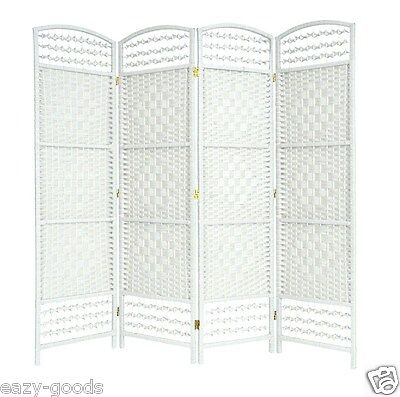 Wicker Hand Made Room Divider Partition Privacy Screen - White 4/6 Panels