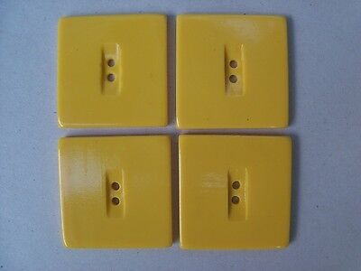 """4 LARGE BRIGHT YELLOW SQUARE CASEIN BUTTONS NOS SEW KNIT CRAFTS FUN 1 1/8""""~ 29mm"""