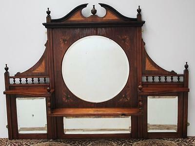 Antique Edwardian Rosewood Inlaid Overmantle Mirror FREE DELIVERY [PL1486]