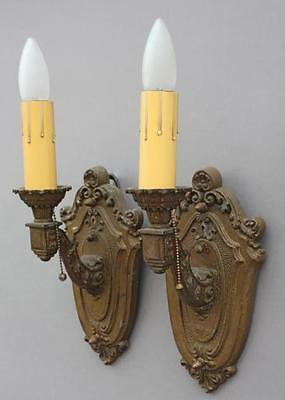 Pair 1920s American Sconce Lights w Pull Chains Spanish Revival Cottage (5374)