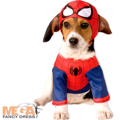 Spiderman Dog Fancy Dress Super Hero Pet Animal Halloween Dress Up Costume New