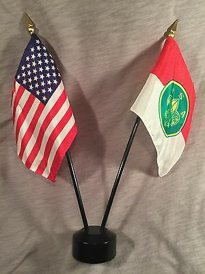 VINTAGE BSA Boy Scouts USA Desk Top American Flag Set NOS PRIORITY MAIL