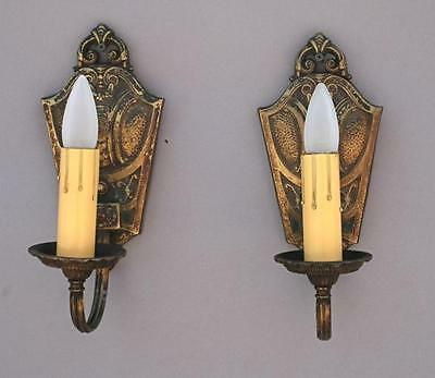 Pair 1920s Brass Single Light Sconces Spanish Revival Cottage Monterey (4770)