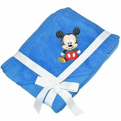 Baby Boy Cotton Polyester Licensed Baby Disney Mickey Blue Hooded Bath Towel