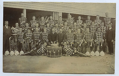 1908 RP NPU PELL POSTCARD COPPER CITY BRASS BAND KADINA SOUTH AUSTRALIA z49.