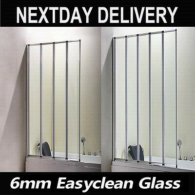 4/5 Folds Bathroom Folding Bath Shower Screen 6mm Easyclean Glass Door Panel V3
