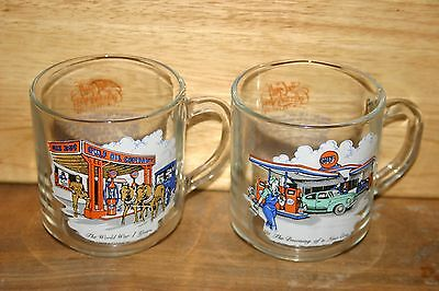 """Gulf Oil Coffee Glasses """"The Gulf Collector's Series"""" Set of 2"""