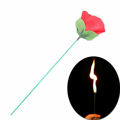 Stage Close Up Magic Trick Torch Rose to Fire Tricks Flame Appearing Flower Hot