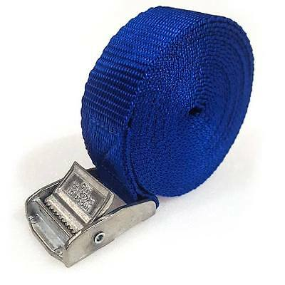 2 Buckled Straps 25mm Cam Buckle 2.5 meters Long Heavy Duty Load Securing Blue