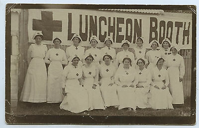 1916 WW1 RP POSTCARD RED CROSS WORKERS/NURSES LUNCHEON BOOTH LAURA STH AUST z57
