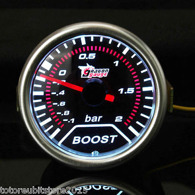 Race Sport  Manometro Nero Pressione Turbo 52 mm TURBO BOOST GAUGE