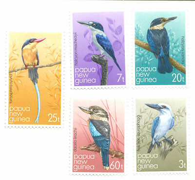 Papua New Guinea-Kingfishers mnh set of 5 (1981)
