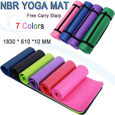 Brand New Free Postage Extra Thick 10mm NBR Yoga Gym Pilate Mat NonSlip 7 Colors
