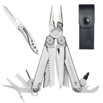 Leatherman Wave Stainless Steel Multitool + Leather Sheath + Crater C33 Knife