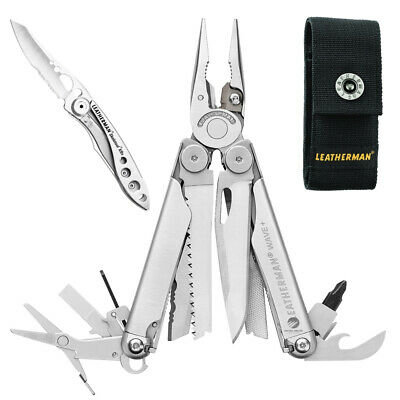 New Leatherman Wave Stainless Steel Multitool + Nylon Sheath + Crater C33 Knife