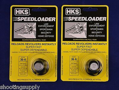 2 Pack HKS 36-A Speed Loader 38/357 Mag S&W Taurus 2Pk 36-A