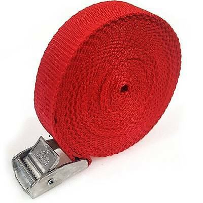 2 Buckled Straps 25mm Cam Buckle 5 meters Long Heavy Duty Load Securing Red