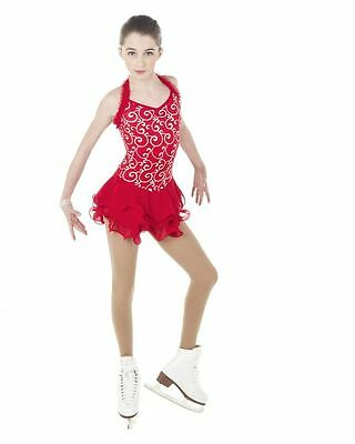 NEW COMPETITION SKATING DRESS Elite Xpression Red Silver 1409 AL LARGE