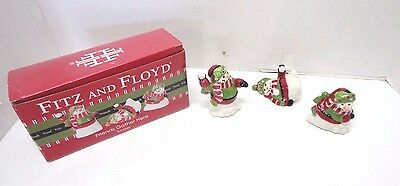 """Fitz & Floyd """"Friends Gather Here""""  Snowman Tumblers Set / 3 Holiday  Figurines"""