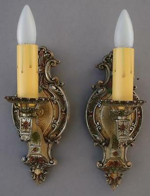 Pair 1920s Single Light Sconces Fits French StoryBook Cottage Tuscan (4623)