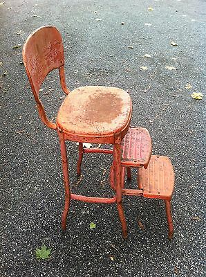 Vtg Mid-cent Red rustic Cosco chair Step Stool Kitchen bathroom seat Garden art