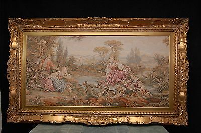 """LARGE EUROPEAN TAPESTRY IN A SCULPTURED GOLD FRAME, 58-1/2"""" W  x 35"""" H, EX. COND"""