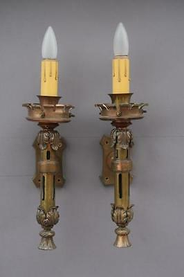 Pair 1920s Single Light Sconces Fits Spanish Revival Mediterranean Tuscan (4313)