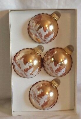 """Enchanted Forest 2 1/2"""" Gold Glass Bulb Ornaments with White Glitter Set of 4"""