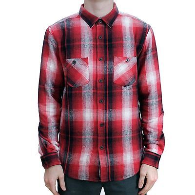 Stussy Heavy Brushed Flannel Button-Up Shirt Red All Sizes New