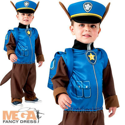 Paw Patrol Chase Boys Fancy Dress Cartoon Police Dog Kids Childs Costume Outfit