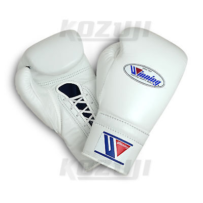 Winning Pro Boxing Gloves MS-400 White, 12oz Lace-up Design, New from Japan