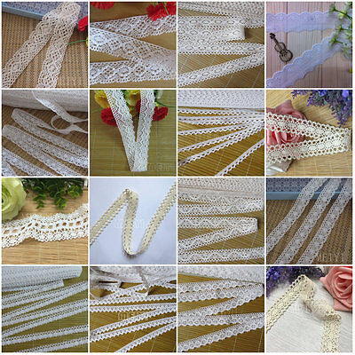 Vintage Cotton Crochet Lace Fabric Trim Bridal Wedding Dress Ribbon Sewing Craft